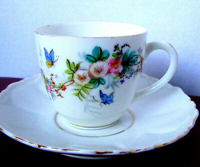 Antique Butterfly Demitasse Cup and Saucer, Hand Painted Teacup Set c.1800s