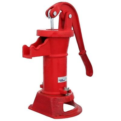 Pitcher Pump Cast Iron Well House Water Hand Powered Red Heavy Vintage Look New