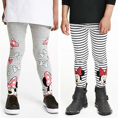 Kids Girls Minnie Mouse Tight Pants Stretch Full Length Soft Leggings Trousers
