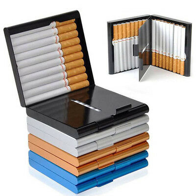 Black Aluminum Metal Cigarette Case Tobacco Cigar Holder Pocket Box Container