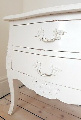 Pair of Antique/Vintage Bedside Tables Drawers White/Cream French Painted (Two)