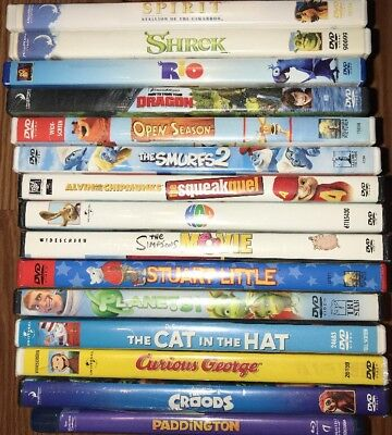 Lot Of 15 Kids DVD Smurfs 2 Hop Shrek Croods Planet 51 Paddington Blu-ray