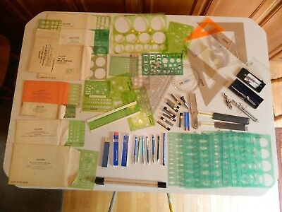 Huge drafting  lot of mechanical pencils, lead, templates and tools