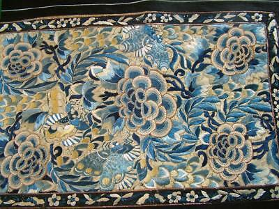Beautiful Antique Chinese Silk Embroidered Panel, Flowers & Butterflies # 2