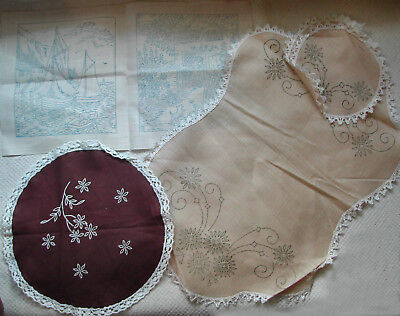 Pre printed embroidery bases - small doilies and 2 pictures as shown