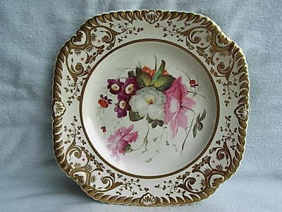 Antique English Porcelain Plate - Painted Flowers  (B)