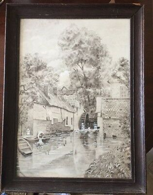 antique watercolour Depicting Watermill Signed And Highlighted With White