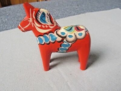 "NILS OLSON DALA HORSE Hand Carve & Painted Bright Red 6-3/4"" Orig Sticker SWEDEN"