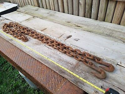 "13 Foot Heavy Duty Log Chain 1/2"" Links Two End Hooks Towing Logging Rigging  96"