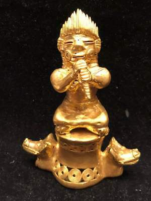 A Huge and Tumbaga Gold,Tairona Culture Colombia Royal Musician pedestal 181,7Gr