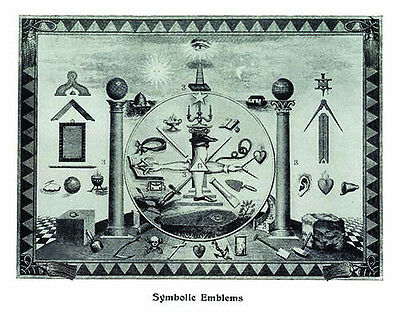 RARE Masonic Symbolic Emblems art print poster ring 12x18 chart Freemasons