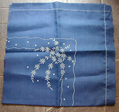 """Pre printed navy blue tablecloth pre printed flowers ready to embroider 49"""" sq"""