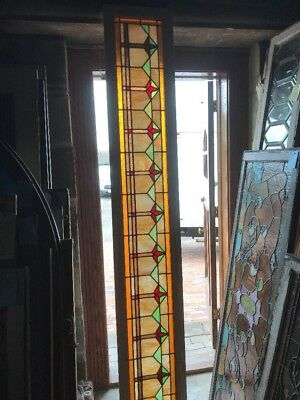 SG 2418 antique art deco stain glass transom window 14.5 x 94