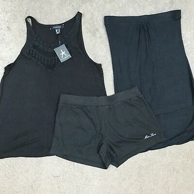 Ladies Girls Black Tops X 2 and Shorts Bundle Size 8 10 SUMMER Warehouse