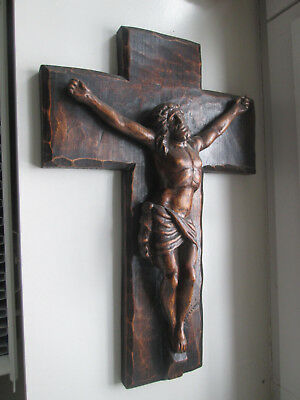 Rare Statue Sculpture Bois Massif Sculpte Christ Crucifix Signe Bertheleme 41Cm