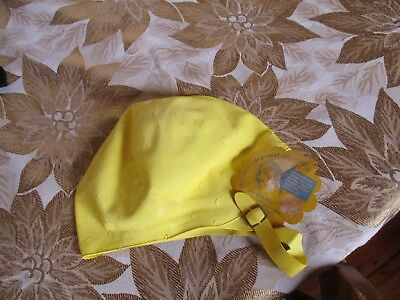 Vintage Yellow Swimmers Bathing Cap Seamless Rubber Co With Original Tag