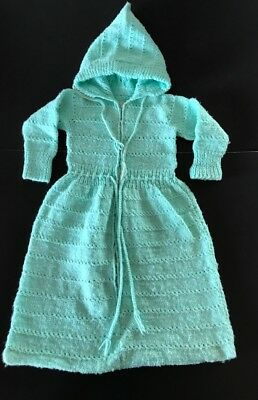 Vintage Hand Crocheted Knitted Mint Green Baby Infant Bunting w Hood Sweet!