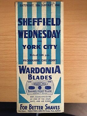 Sheffield Wednesday v York City programme FA Cup 4th Round 26th January 1946
