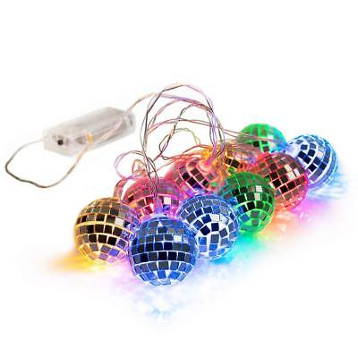 West Ivory 5.5 feet 10 Mixed Multi-Colors Mirror Disco Ball String Fairy Globe