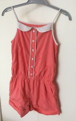 Girls M&S Marks Indigo Short Suit Play Suit Age 7 - 8 Years Coral Colour