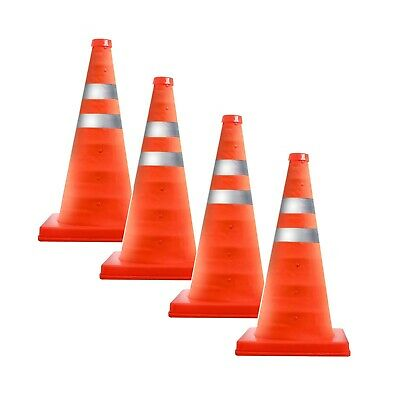 """4PK Collapsible 15.5"""" Reflective Pop Up Road Safety Extendable Traffic Cones"""