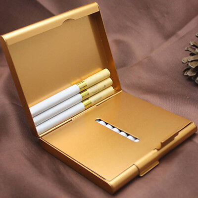 NEW Gold Aluminum Metal Cigarette Case Tobacco Cigar Holder Pocket Box Container