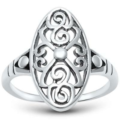 Plain Solid Antique Style Filligree .925 Sterling Silver Ring