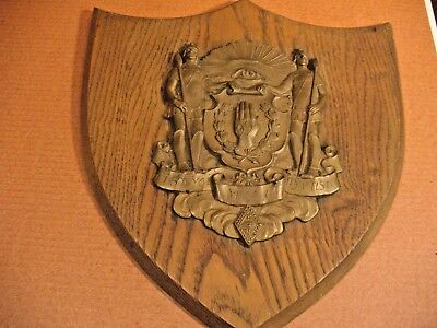 ANTIQUE  Kappa Psi fraternity Brass & Wood Plaque Very Early Estate Kentucky