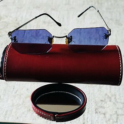 Hard To Find Vintage Steven Vaughan Edvardian Sunglasses With Red Leather Case