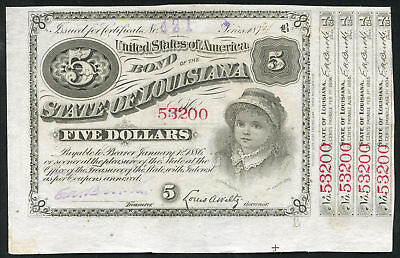 USA (State Of Louisiana) - 5 Dollars Baby Bond with 4 Coupons 1875