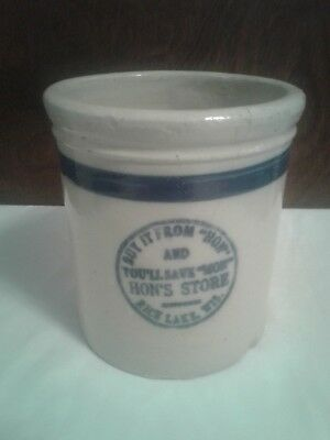 Rice Lake, Wisconsin Hon's Store Red Wing Advertising Beater Jar