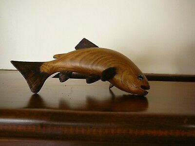 Vintage Hand Carved Wooden Fish dated 1988 Don Trudell OOAK butternut sculpture