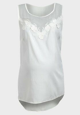 Dp's Maternity Blue Or Cream Flower Detail Blouse Tunic Top All Sizes New