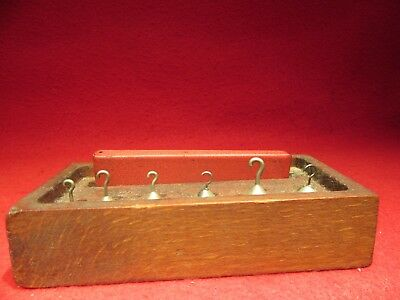 Antique Scale Weights Set In Wood Box Apothecary/ Pharmacy