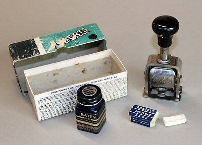 ROBERTS FOR NUMBERING MODEL 64 in Box w/ Stick, ExtraInk, & Ink Pads