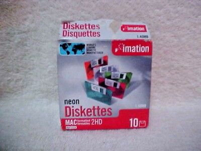 Neon Diskettes  -  Imation  -  1..40Mb  -   10 New In Box