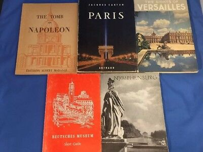 LOT of 5 1950's VTG Mid-Century European Travel Museum Guides France Germany