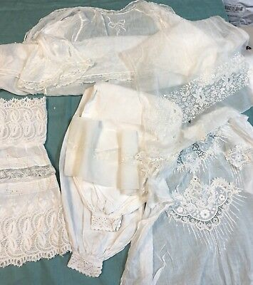 Antique Vintage Hand Embroidered Lace Lot 7 pcs Broderie Anglaise Baby Doll