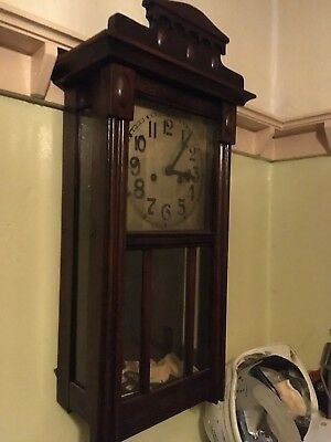 Traditional Antique Grandfather Wood Wall Clock with Pendulum and Key.