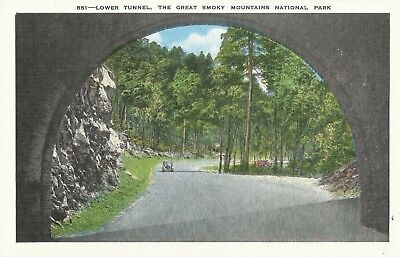 Lower Tunnel Great Smoky Mountains National Park TN Linen Postcard 551 31594