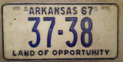 1967 67 Arkansas Ar Land Of Opportunity License Plate Tag 37-38