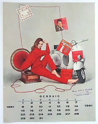 ORIGINAL 1961 VESPA calendar page Pin-up Girl with scooter and LP records