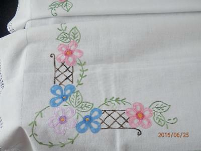 "Vintage - Hand Embroidered Floral Pattern & Crochet Edging  34"" X 34"" Tablecloth"
