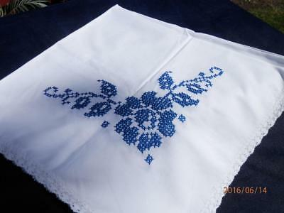 "Vintage - Hand -Embroidered Cross-Stitch - Tablecloth - 34"" X 34"" - In Blue"