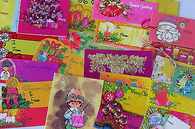 Lot Vintage 60's 70's Christmas Gift Tags Retro Golds & Other Brights Ephemera