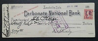 Bank Check, Carbonate National Bank, Leadville Colorado 1898