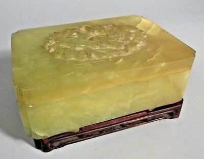 Fine China Chinese Green Hard stone Box w/ Avian & Floral Decor Lid Qing ca 1900