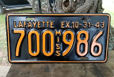 1943 Lafayette County Mississippi  License Plate #700  986.  Restored