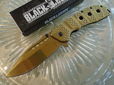 Black Legion Sulfide Assisted Open Tactical Pocket Knife Gold Chrome Steel 461