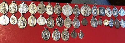 Estate Lot Of 36 Vintage Religious Catholic Medals